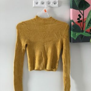 tight forever 21 long sleeve yellow turtle neck.